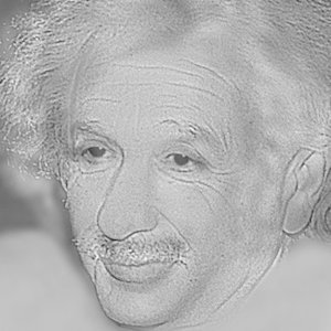 Whose face has been combined with Albert Einstein in this hybrid image?