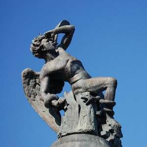 Where is the famous Fallen Angel sculpture?