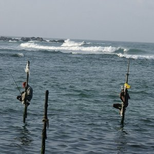 Where can you find stilt fishermen?