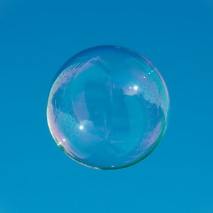What is the volume of a soap bubble with radius R=1 cm?