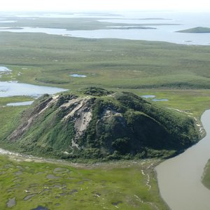 What is the name of this periglacial landform largely spread in the Mackenzie Delta ?