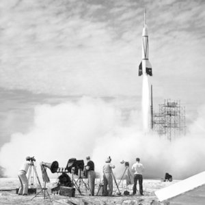 Who built the first rocket powerful enough to enter outer space?