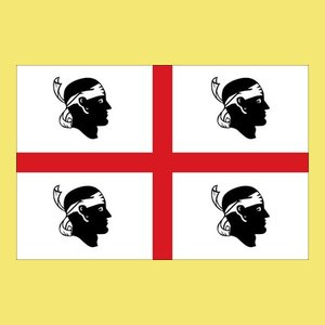 Whose heads are on the flag of Sardinia?