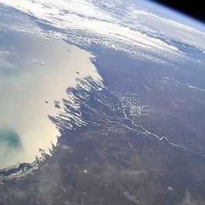 At this photo, you can see the impressive delta of the largest inflow of Caspian Sea. What's the river name?
