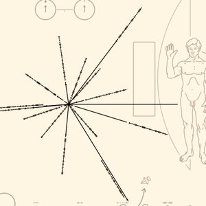 This plaque, carried by Pioneer 10 and Pioneer 11 space probes, describes the location of the Sun. What are the points at the ends of the lines?